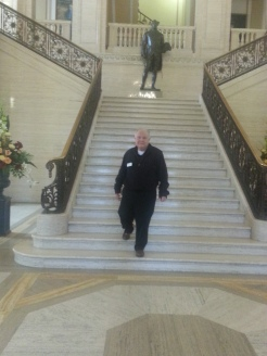 Richard coming down the main steps in Stormont Parliament Building, Belfast, Ireland.