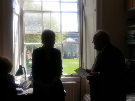 Senator Ivana Bacik with Richard Pena at Trinity College, looking out the  window to a brighter future for Ireland.